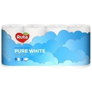 Трехслойная туалетная бумага Ruta Pure White, 8 рулонов Ruta