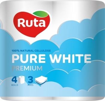 Трехслойная туалетная бумага Ruta Pure White, 4 рулона Ruta
