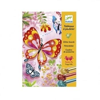 Художественный комплект для рисования блестками Djeco Блестящие бабочки (DJ09503) Djeco
