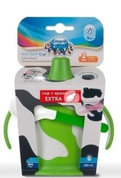Кружка-непроливайка Canpol babies Коровка 250 мл + ложечка-зубогрызка, зеленый Canpol babies