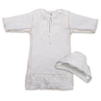 betis Крестильная рубашка и шапочка для девочки BetiS Яночка-2, интерлок, р.56, молочный (27069564)