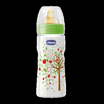 Бутылочка пластиковая Well-Being с латексной соской, 330 мл Chicco