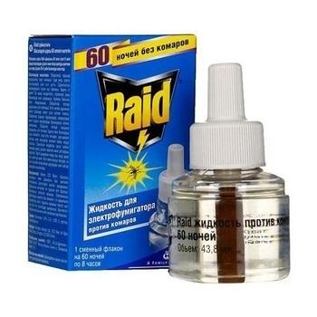 Купить Средства защиты от комаров и насекомых, Жидкость Raid для фумигаторов 60 ночей, 43, 8 мл