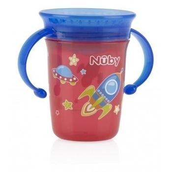 Чашка-непроливайка Nuby с ручками и крышечкой, 240 мл, красный Nuby