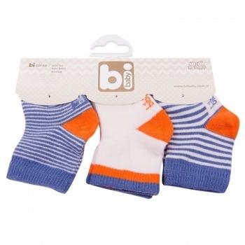 Носочки Bibaby, 8-9 см, синий с оранжевым, 3 пары (68110) Bibaby