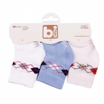 Носочки для мальчика Bibaby, 8-9 см, голубой, 3 пары (68031) Bibaby