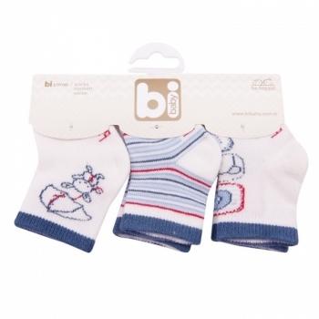 Носочки для мальчика Bibaby, 8-9 см, белый с голубым, 3 пары (68071) Bibaby
