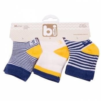 Носочки Bibaby, 8-9 см, синий с желтым, 3 пары (68110) Bibaby