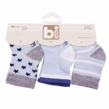 Носочки Bibaby, 8-9 см, голубой, 3 пары (68107) Bibaby