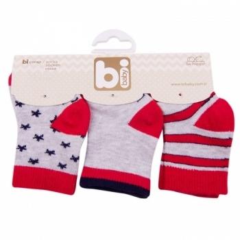 Носочки Bibaby, 8-9 см, красный, 3 пары (68107) Bibaby