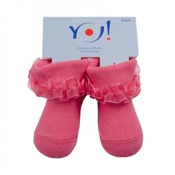 Носочки с рюшами YO!, 0-3 мес., малиновый (SKFA/BABY/MIX/0-3) YO!