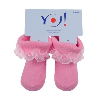 Носочки с рюшами YO!, 3-6 мес., розовый (SKFA/BABY/MIX/3-6) YO!