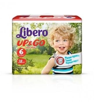 Подгузники-трусики Libero Up&Go, размер 6 (13-20 кг), 38 шт. Libero