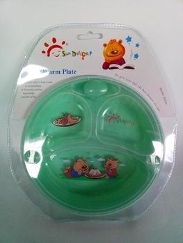 Деткая тарелка Забава на присоске с подогревом, зеленая (33017) Забава