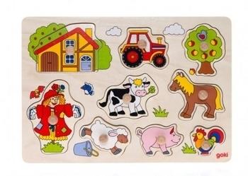 Купить Пазлы, шнуровки и головоломки, Развивающая игра Goki Ферма (57995)