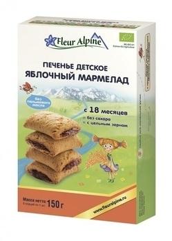 Купить Печенье и сладости, Печенье детское Fleur Alpine Органик Яблочный мармелад, 150 г