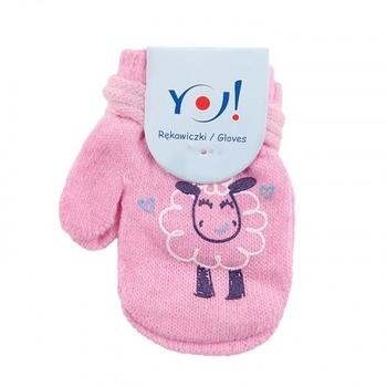 yo! Варежки YO! ABS с добавкой шерсти, р.10, светло-розовый, барашек (R-002A/GIR/10)