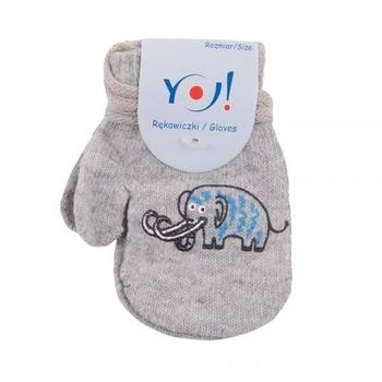 yo! Варежки YO! ABS с добавкой шерсти, р.10, светло-серый, мамонт (R-002/BOY/10)