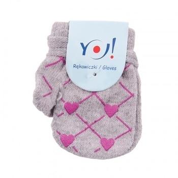 yo! Варежки YO! ABS с добавкой шерсти, р.10, серый, сердечки (R-002A/GIR/10)