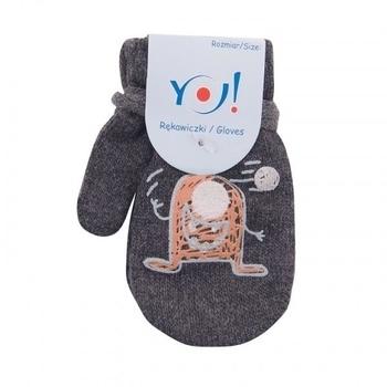 yo! Варежки YO! ABS с добавкой шерсти, р.10, серый, миньон (R-002/BOY/10)