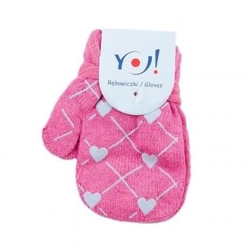 yo! Варежки YO! ABS с добавкой шерсти, р.10, розовый, сердечки(R-002A/GIR/10)