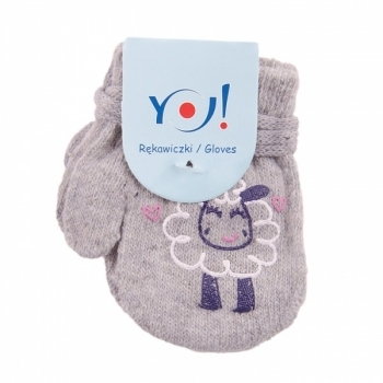 yo! Варежки YO! ABS с добавкой шерсти, р.10, серый, барашек (R-002A/GIR/10)