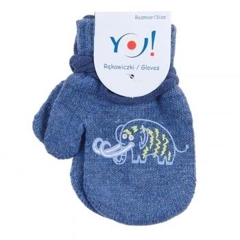 yo! Варежки YO! ABS с добавкой шерсти, р.10, синий, мамонт (R-002/BOY/10)