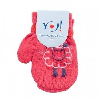 yo! Варежки YO! ABS с добавкой шерсти, р.10, коралловый, барашек (R-002A/GIR/10)