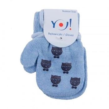 yo! Варежки YO! ABS с добавкой шерсти, р.10, голубой, котики (R-002/BOY/10)