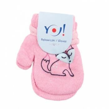 yo! Варежки YO! ABS с добавкой шерсти, р.10, светло-розовый, лисичка (R-002A/GIR/10)