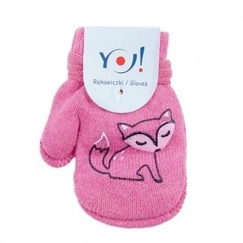 yo! Варежки YO! ABS с добавкой шерсти, р.10, розовый, лисичка (R-002A/GIR/10)
