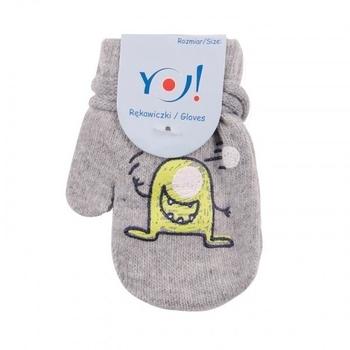 yo! Варежки YO! ABS с добавкой шерсти, р.10, светло-серый, миньон (R-002/BOY/10)