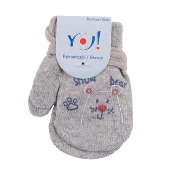 yo! Варежки YO! ABS с добавкой шерсти, р.10, светло-серый, мишка (R-002/BOY/10)