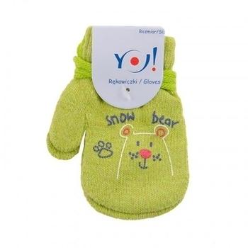 yo! Варежки YO! ABS с добавкой шерсти, р.10, салатовый, мишка (R-002/BOY/10)