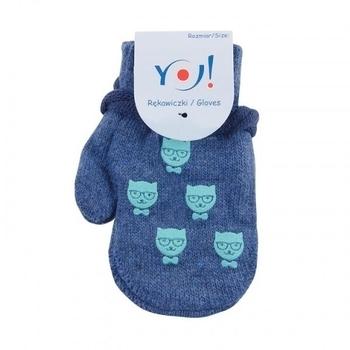 yo! Варежки YO! ABS с добавкой шерсти, р.10, синий, котики (R-002/BOY/10)
