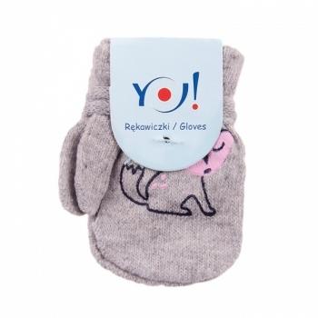 yo! Варежки YO! ABS с добавкой шерсти, р.10, серый, лисичка (R-002A/GIR/10)