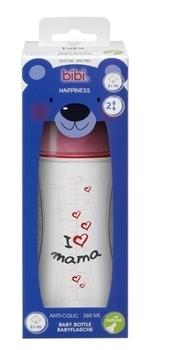 Купить Бутылочки и соски, Бутылочка для кормления Bibi Natural Я люблю маму, 2+, 260 мл (114651), Белый