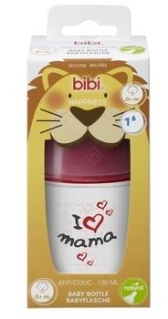 Купить Бутылочки и соски, Бутылочка для кормления Bibi Natural Я люблю маму, 0+, 120 мл (114652), Белый