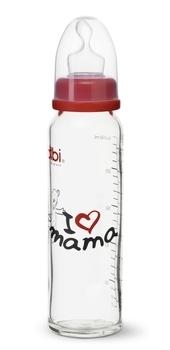 Купить Бутылочки и соски, Стеклянная бутылочка для кормления Bibi Dental Я люблю маму, 240 мл (111008)