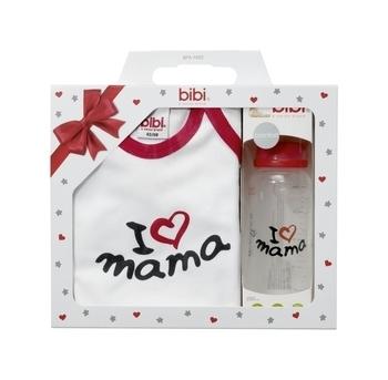 Купить Костюмы и комплекты, Подарочный набор Bibi Я люблю маму, боди и бутылочка (112516)