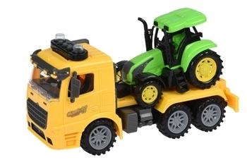 Купить Игрушечный транспорт, Тягач с трактором Same Toy Truck, со светом и звуком, желтый (98-613AUt-1)