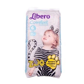 Подгузники Libero Comfort Zoo Collection 6 (12-22 кг), 66 шт. - Pampik