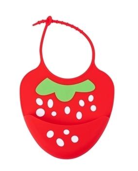 Купить Слюнявчики и нагрудники, Слюнявчик силиконовый Baby Team Клубничка, с карманом (6590), Красный