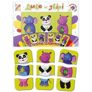 Магнитные пазлы-тройняшки Vladi Toys Чудо-звери. Зоопарк, укр. язык (VT3205-58)