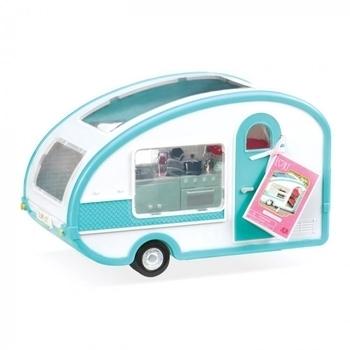 Купить Фигурки, куклы и игрушки-антистресс, Транспорт для кукол Lori Кемпер на колесах, белый с голубым (LO37001)