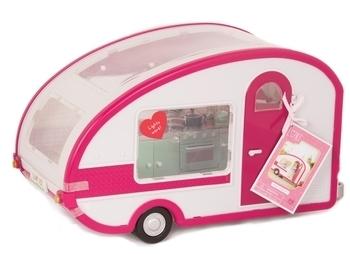 Купить Фигурки, куклы и игрушки-антистресс, Транспорт для кукол Lori Кемпер на колесах, белый с розовым (LO37011Z)