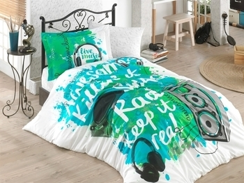 Купить Постельное белье, Комплект постельного белья Hobby Poplin Love Music, поплин, зеленый (32511_1, 5), Турция, Зеленый, Поплин