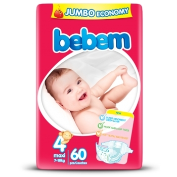 Подгузники Bebem 4 Maxi Jumbo Pack (7-18 кг), 60 шт.   Купить в ... ab48b232c99