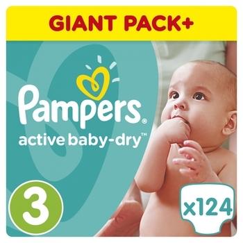 Подгузники Pampers Active Baby-Dry Midi 3 (5-9 кг), 124 шт.   Купить ... ac754294bd4