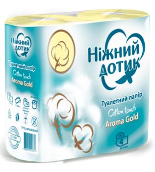 Купить Туалетная бумага, Двухслойная туалетная бумага Ніжний дотик Арома Голд, 4 рулона, Украина